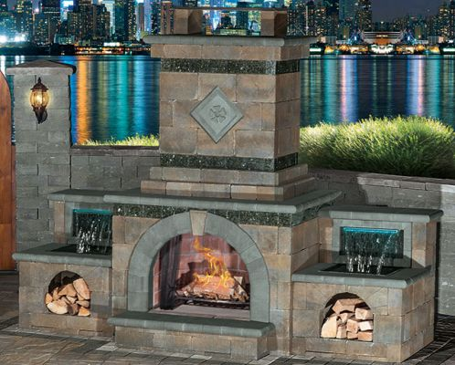 Outdoor Fireplace With Optional Waterfall Firewood Box